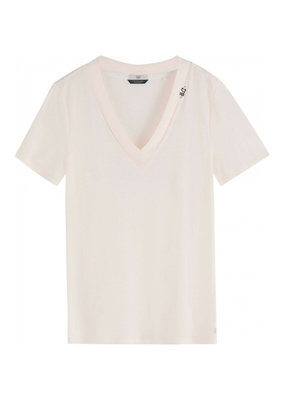 Scotch and Soda T-SHIRT IN LINNENMIX CREME