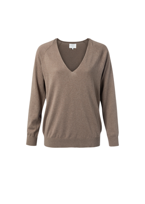 YAYA V-NECK SWEATER BROWN