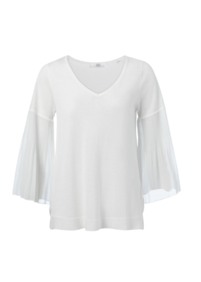 YAYA COTTON BLEND V-NECK TOP WITH WOVEN PLEATS