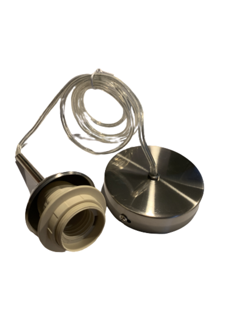 Snoerpendel transparant RVS E27 fitting
