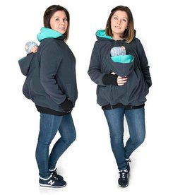 KOALA 3in1 babywearing jacket with backwearing function - Graphite / teal