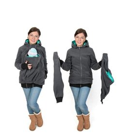 LUNA 3in1 Fleece babywearing jacket - Graphite/teal