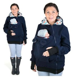 LITTLE BEAR Fleece draagvest – marine/bloempatroon