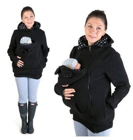 LITTLE BEAR Fleece babywearing jacket - black/dots