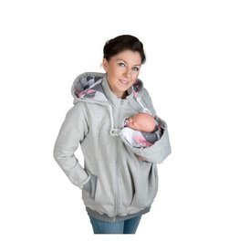 AXEL 3in1 Babywearing jacket with backwearing function - Grey / Coral patern pink