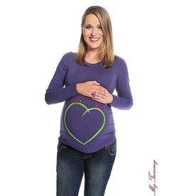 """Zwangerschapsshirt – blauwpaars - """"Green Heart"""""""