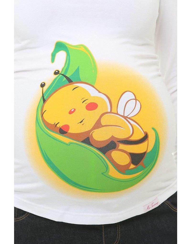 "Zwangerschapsshirt - wit ""Bee Leaf"""