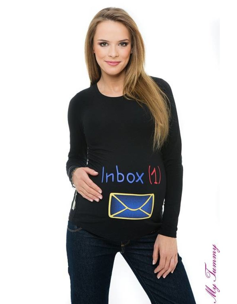 "Maternity shirt ""Inbox"" - black"