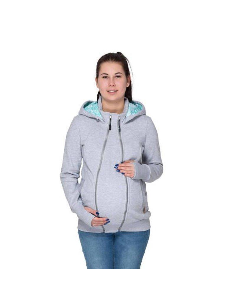 Zwangerschapskleding 46.Pola 3in1 Hoodie Jacket Grey Mint Leaf Motif Babystock