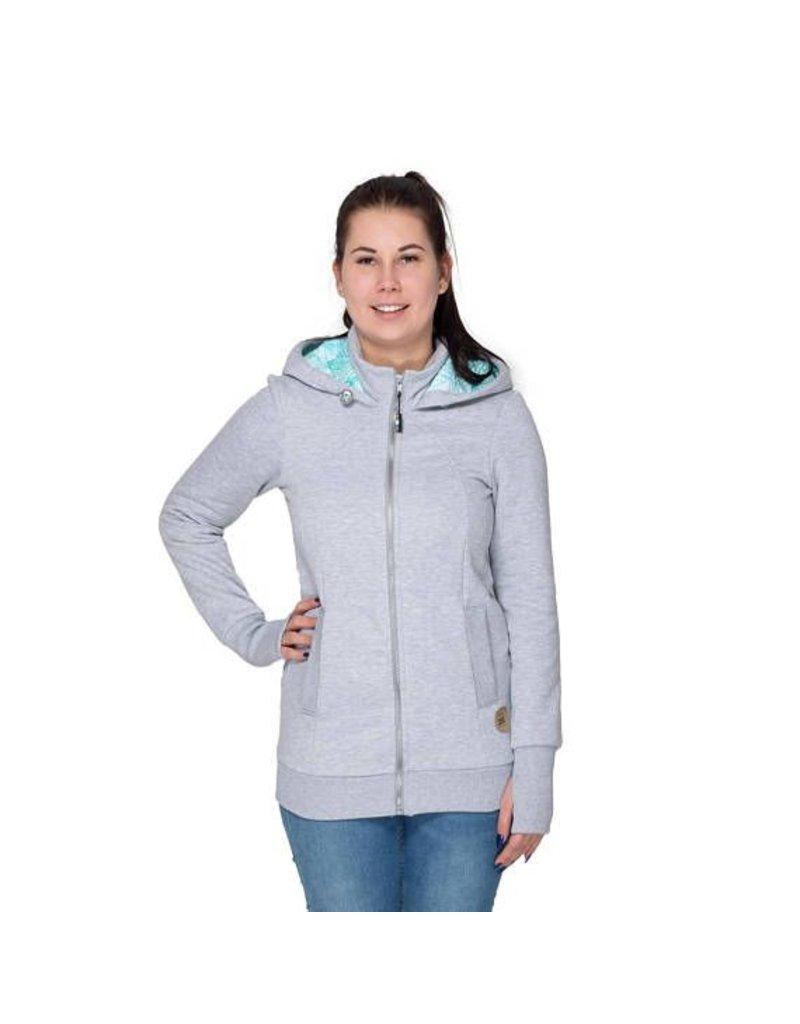 POLA - 3in1 Hoodie / jacket - Grey/mint/leaf motif