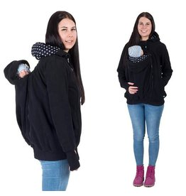 KOALA 3in1 babywearing jacket with backwearing function - Black / Dots