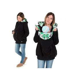 LUNA 3in1 Fleece draagjas – Black Leaves