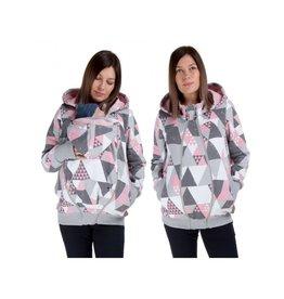 POLA - 3in1 Hoodie/jacket - Grey Pink Triangles