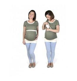 Alex T-Shirt Manches Courtes Olive Ecru