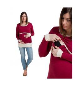 Alex T-Shirt Manches Longues Rouge Ecru