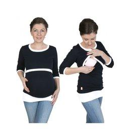 Alex T-Shirt Manches Longues Marine Blanc