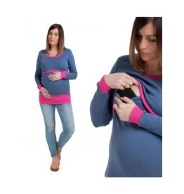 Alex T-Shirt Lange  Mouwen Blauw Roos