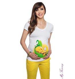 Zwangerschapsshirt - Leaf Bee / wit