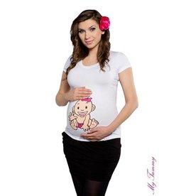 Zwangerschapsshirt - Babygirl / wit