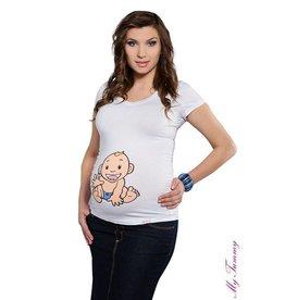 Zwangerschapsshirt – Babyboy / wit