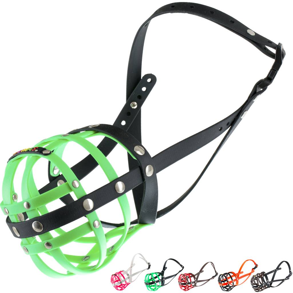 BUMAS - das Original. BUMAS Muzzle for German Shepherds made of BioThane®, neon green/black