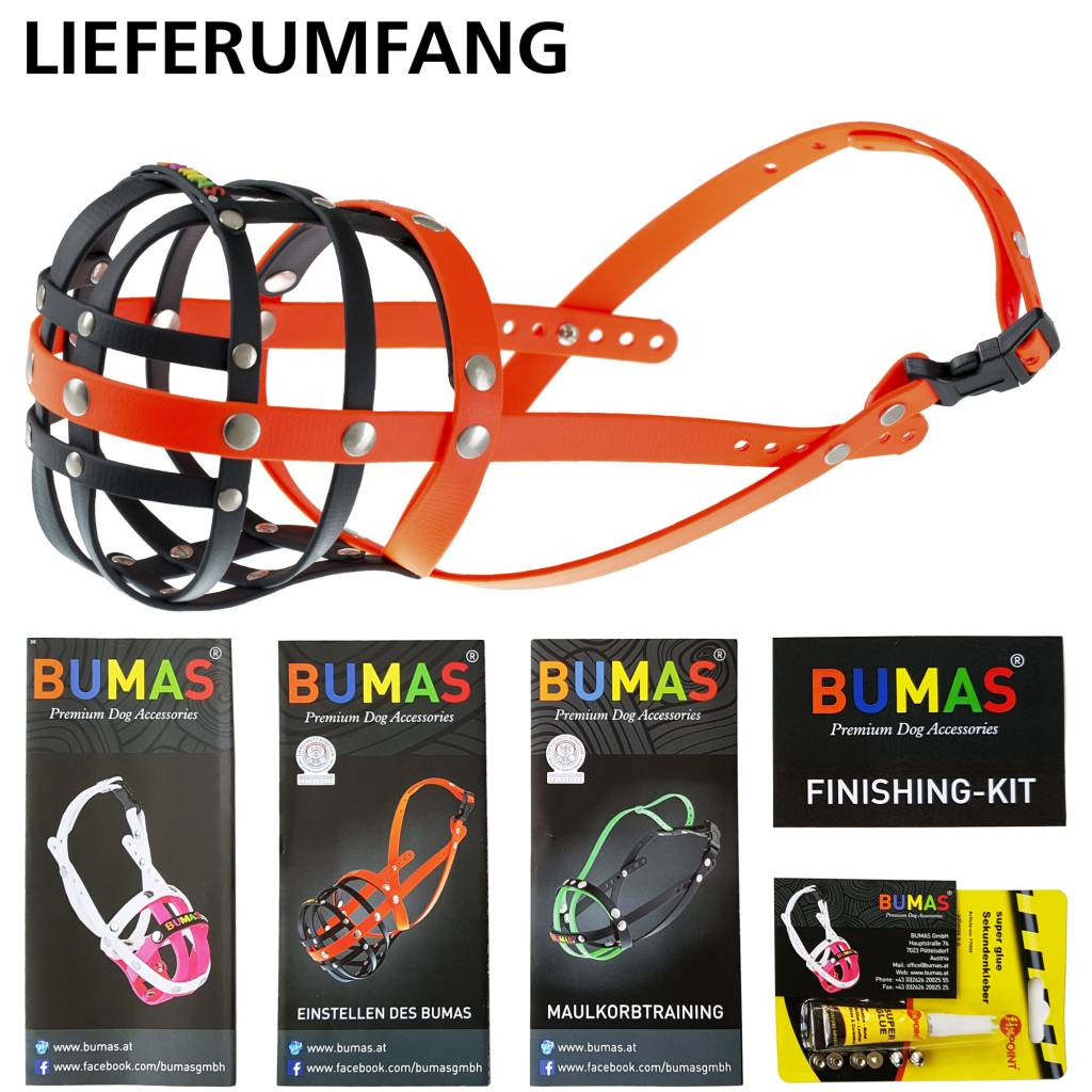 BUMAS - das Original. BUMAS Muzzle for German Shepherds made of BioThane®, black/neon orange