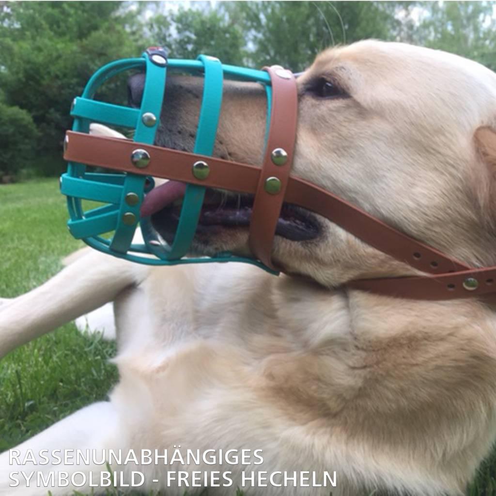 BUMAS - das Original. BUMAS Muzzle for Golden Retrievers made of BioThane®, neon green/black