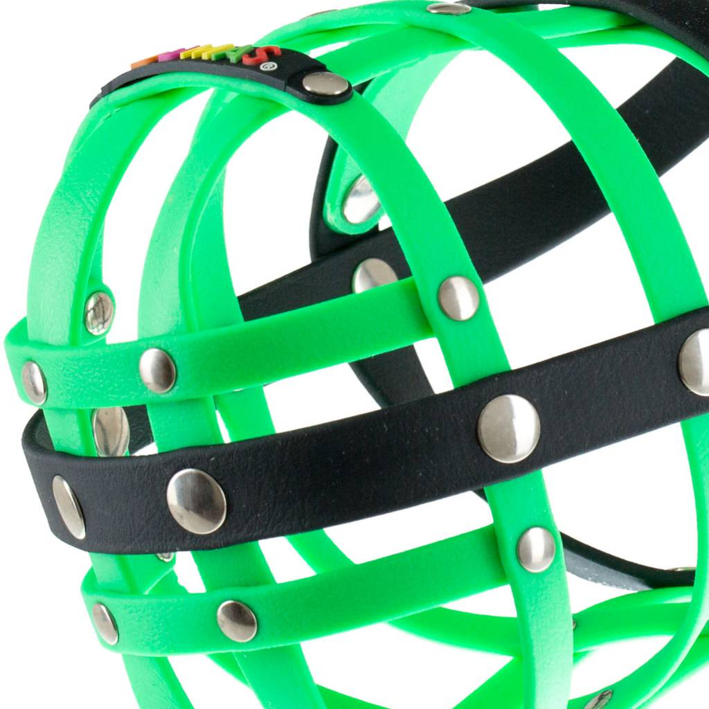 BUMAS - das Original. BUMAS Muzzle for Rottweilers made of BioThane®, neon green/black