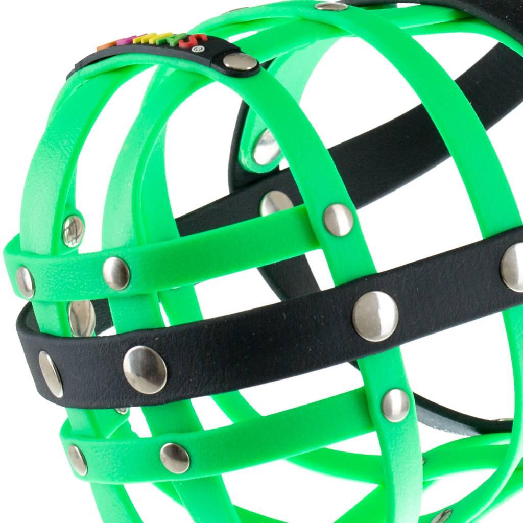 BUMAS - das Original. BUMAS Maulkorb für Border Collie aus BioThane®, neongrün/schwarz