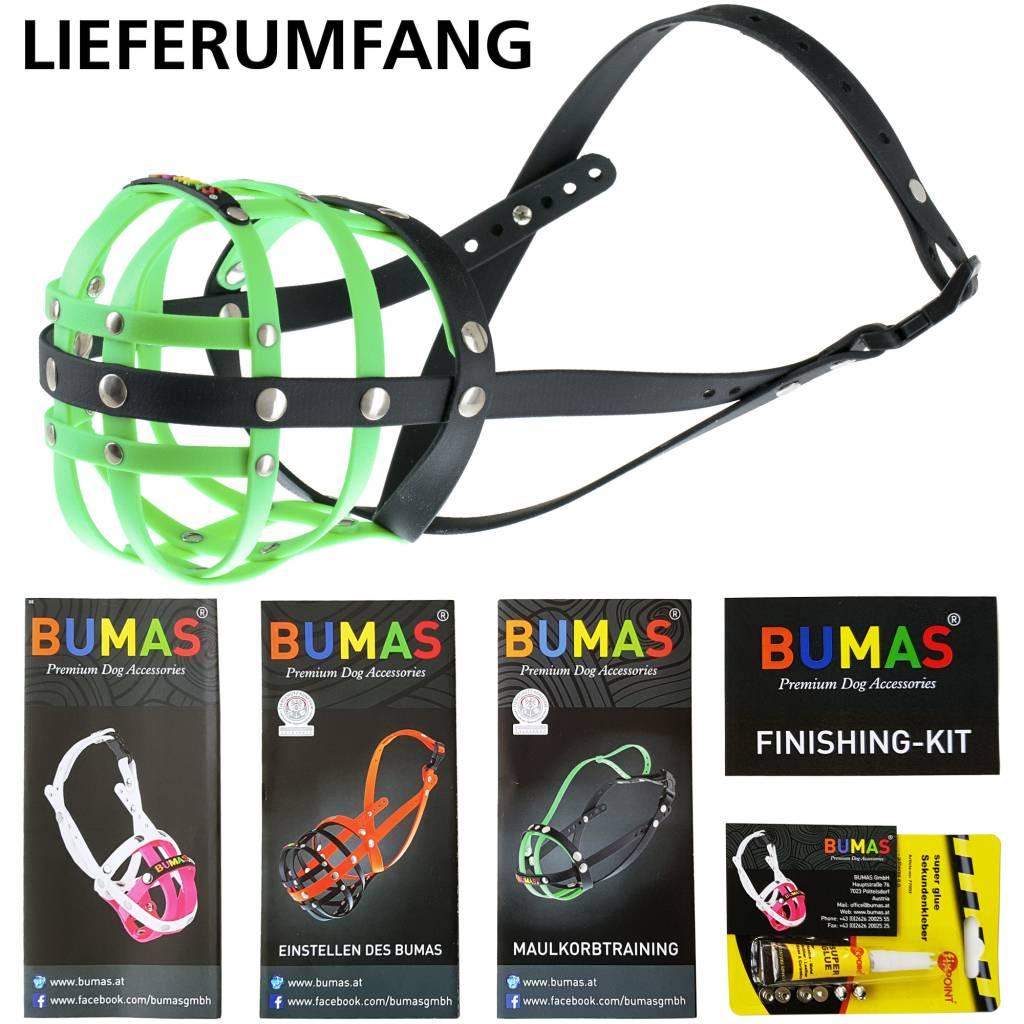 BUMAS - das Original. BUMAS Muilkorf voor Amerikaanse staffordshire terriër uit BioThane®, neongroen/zwart