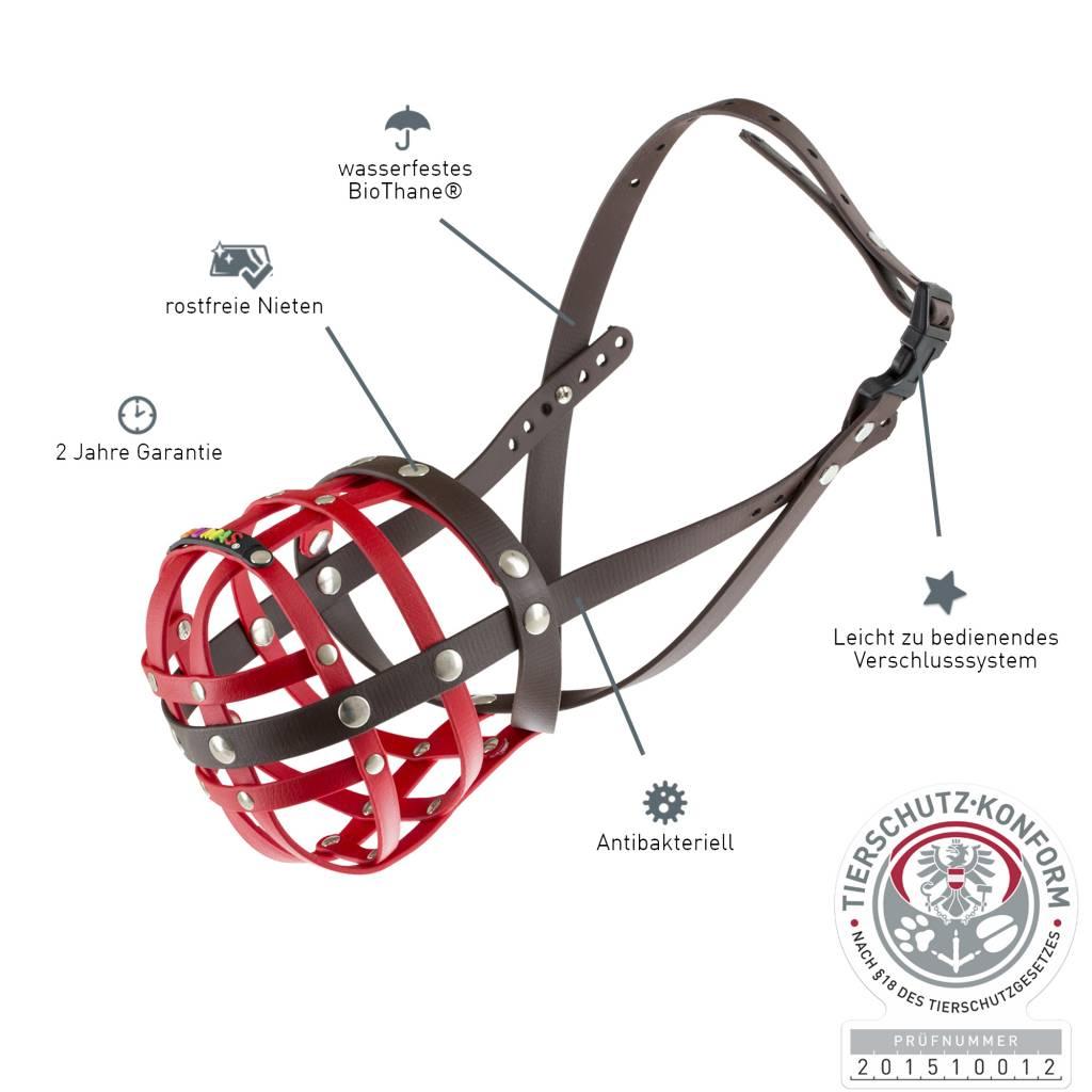 BUMAS - das Original. BUMAS Muilkorf voor Amerikaanse staffordshire terriër uit BioThane®, rood/bruin