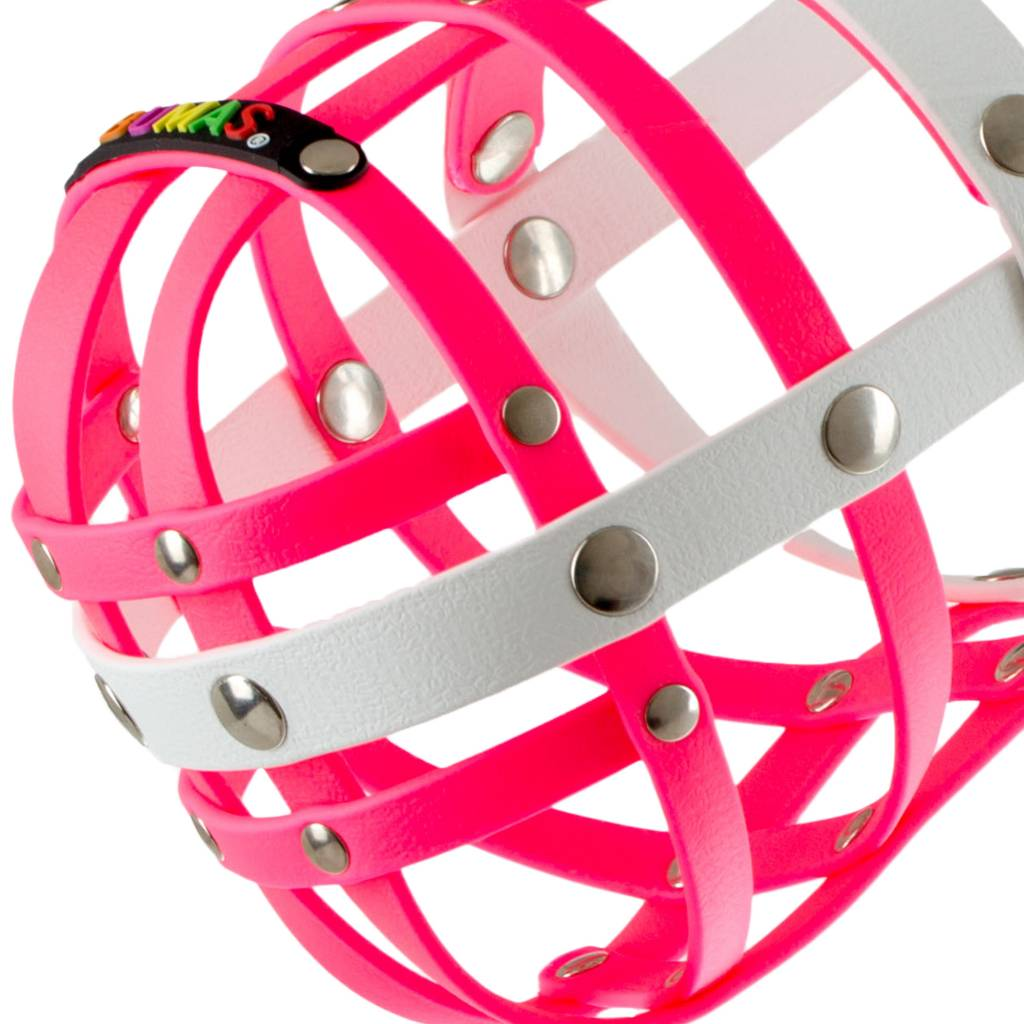 BUMAS - das Original. BUMAS Muzzle for Border Collies made of BioThane®, pink/white