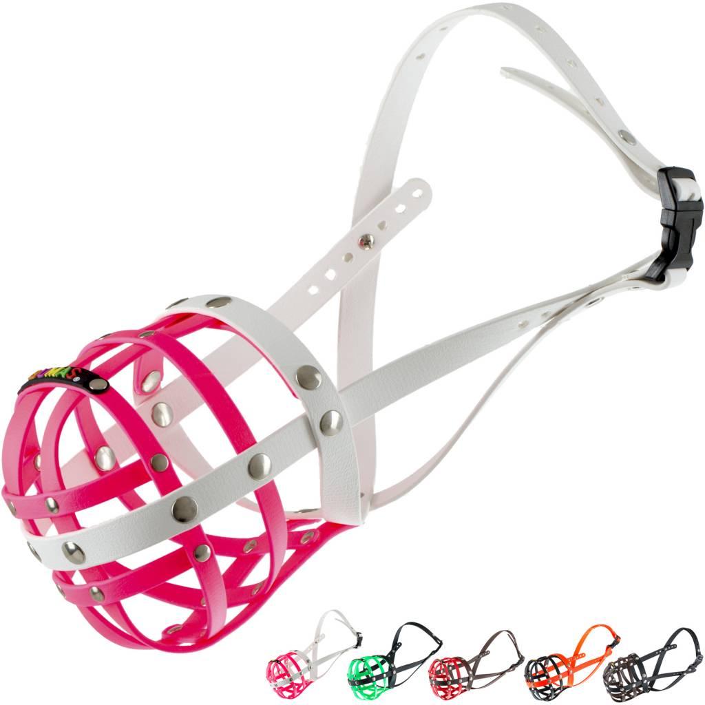 BUMAS - das Original. BUMAS Muzzle for American Staffordshire Terriers made of BioThane®, pink/white