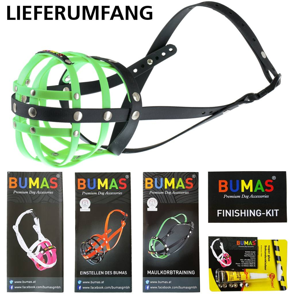 BUMAS - das Original. BUMAS Muzzle for Magyar Viszlas made of BioThane®, neon green/black
