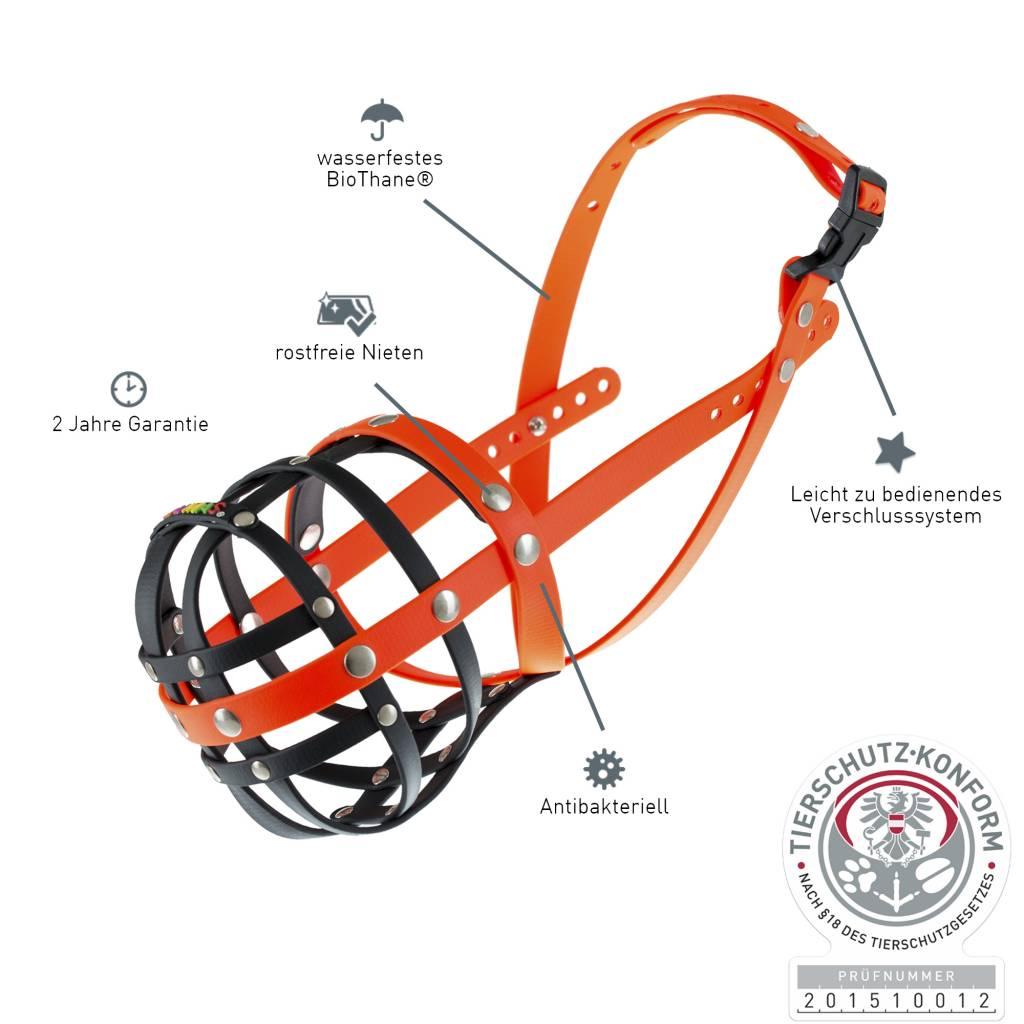 BUMAS - das Original. BUMAS Muzzle for Bulldogs made of BioThane®, black/neon orange