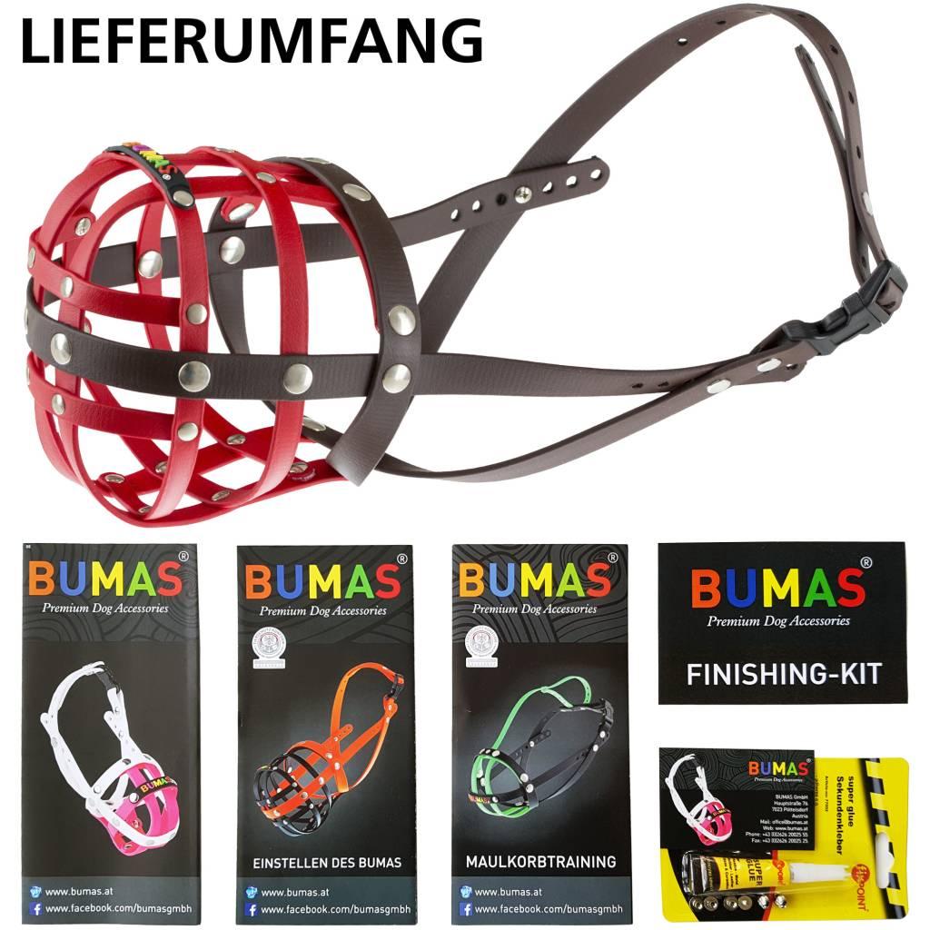 BUMAS - das Original. BUMAS Muzzle for Dalmatians made of BioThane®, red/brown