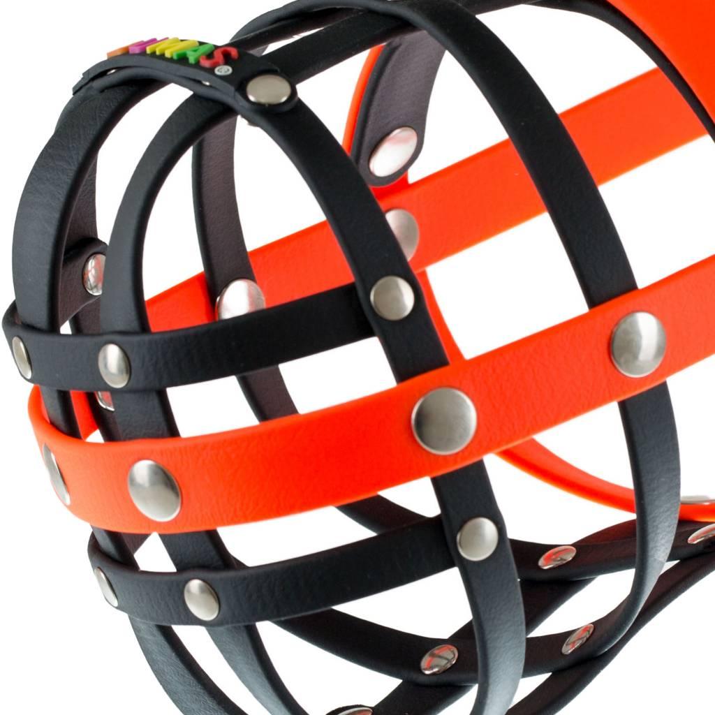 BUMAS - das Original. BUMAS Muzzle for Dalmatians made of BioThane®, black/neon orange