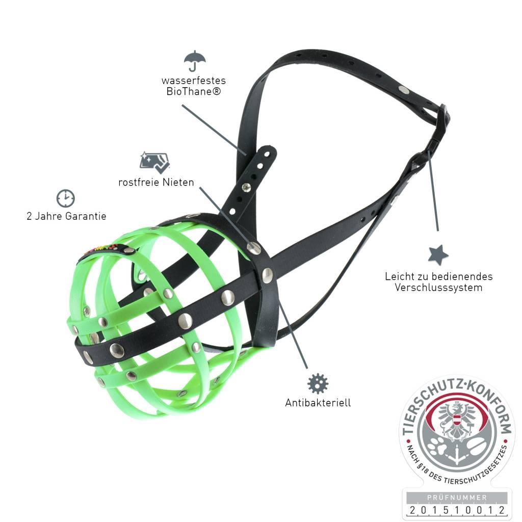 BUMAS - das Original. BUMAS Muzzle for Pugs made of BioThane®, neon green/black
