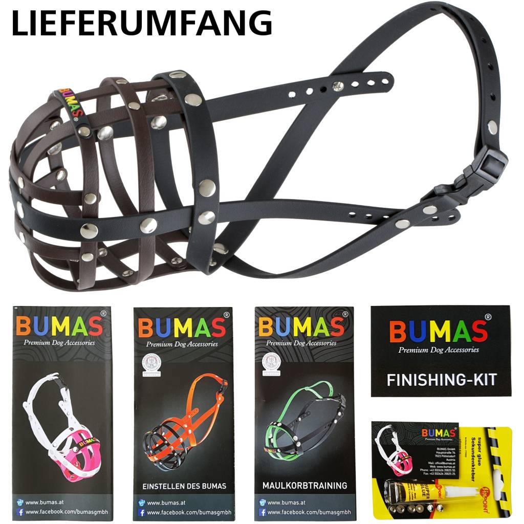 BUMAS - das Original. BUMAS Muzzle for Pugs made of BioThane®, brown/black