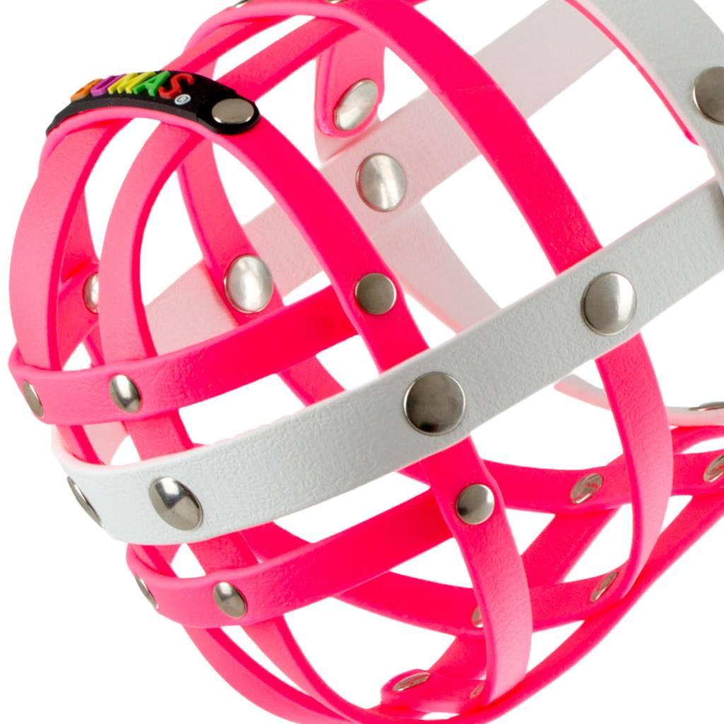 BUMAS - das Original. BUMAS Maulkorb für Magyar Vizsla aus BioThane®, pink/weiß