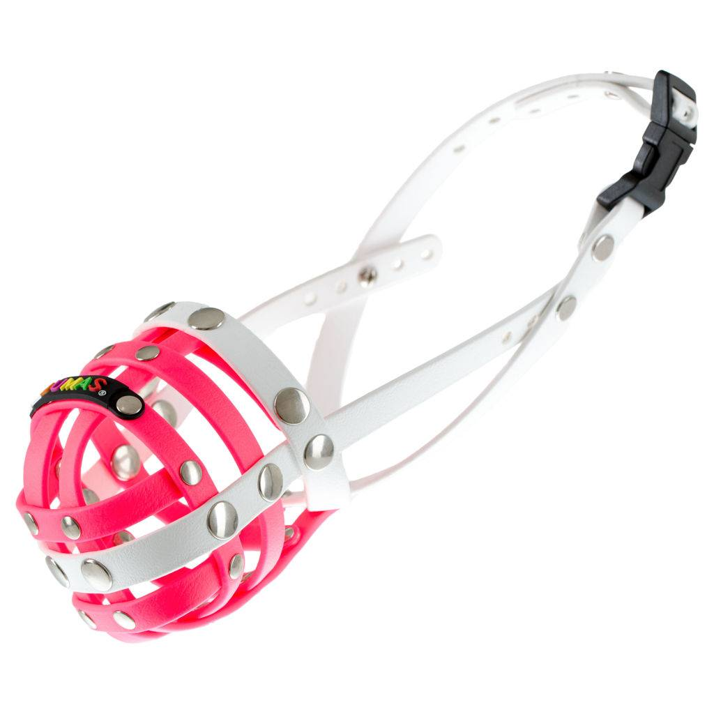 BUMAS - das Original. BUMAS muzzle made of Biothane® Size 1 in pink/white (U 18cm / L 7cm)