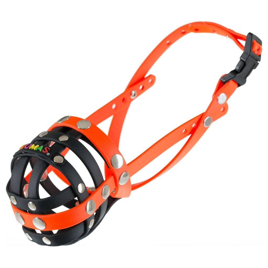 BUMAS - das Original. BUMAS muzzle made of Biothane® Size 5 in black/neon orange (U 26cm / L 9cm)