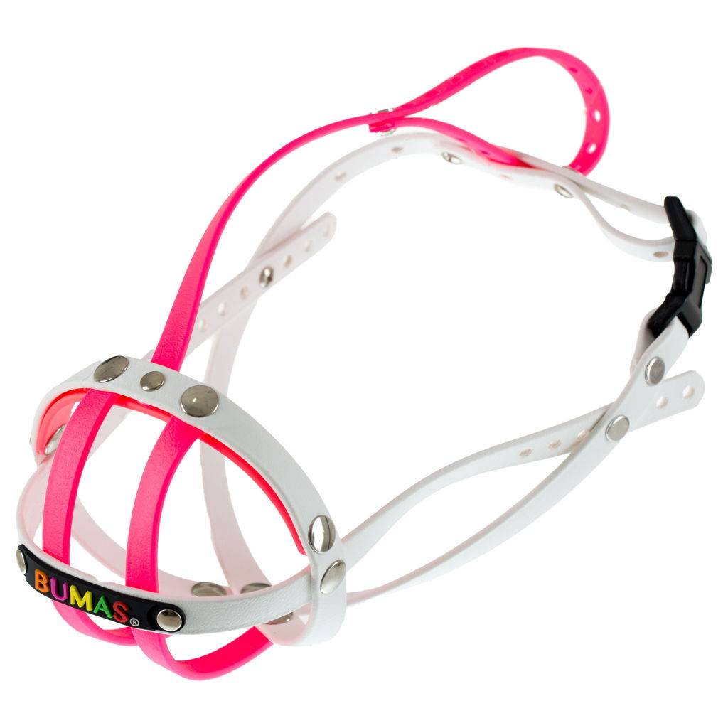 BUMAS - das Original. BUMAS muzzle made of Biothane® Size 6 in pink/white (U 28cm / L 4cm)