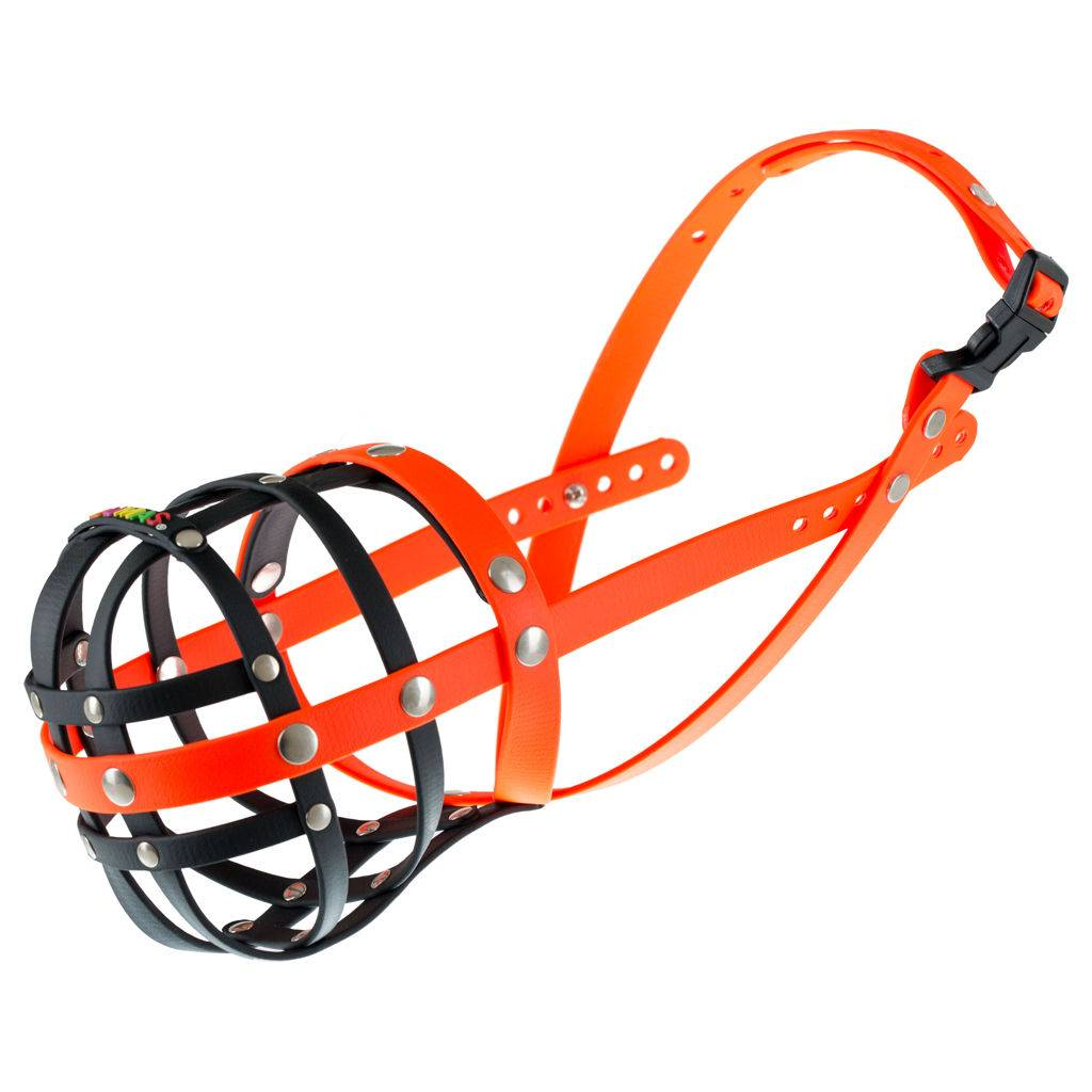 BUMAS - das Original. BUMAS muilkorf van Biothane® maat 7 in zwart/oranje O 30cm / L 6cm