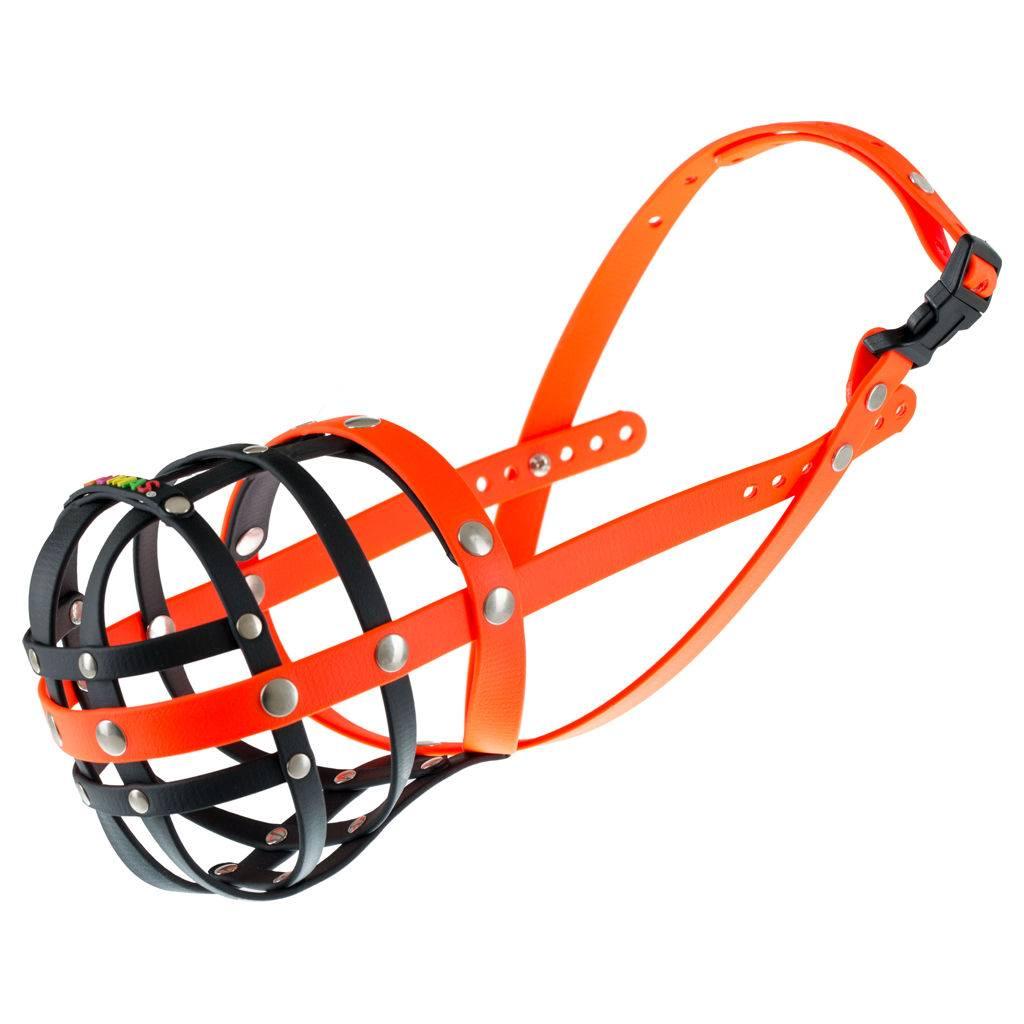BUMAS - das Original. BUMAS muilkorf van Biothane® maat 9 in zwart/oranje O 34cm / L 11cm