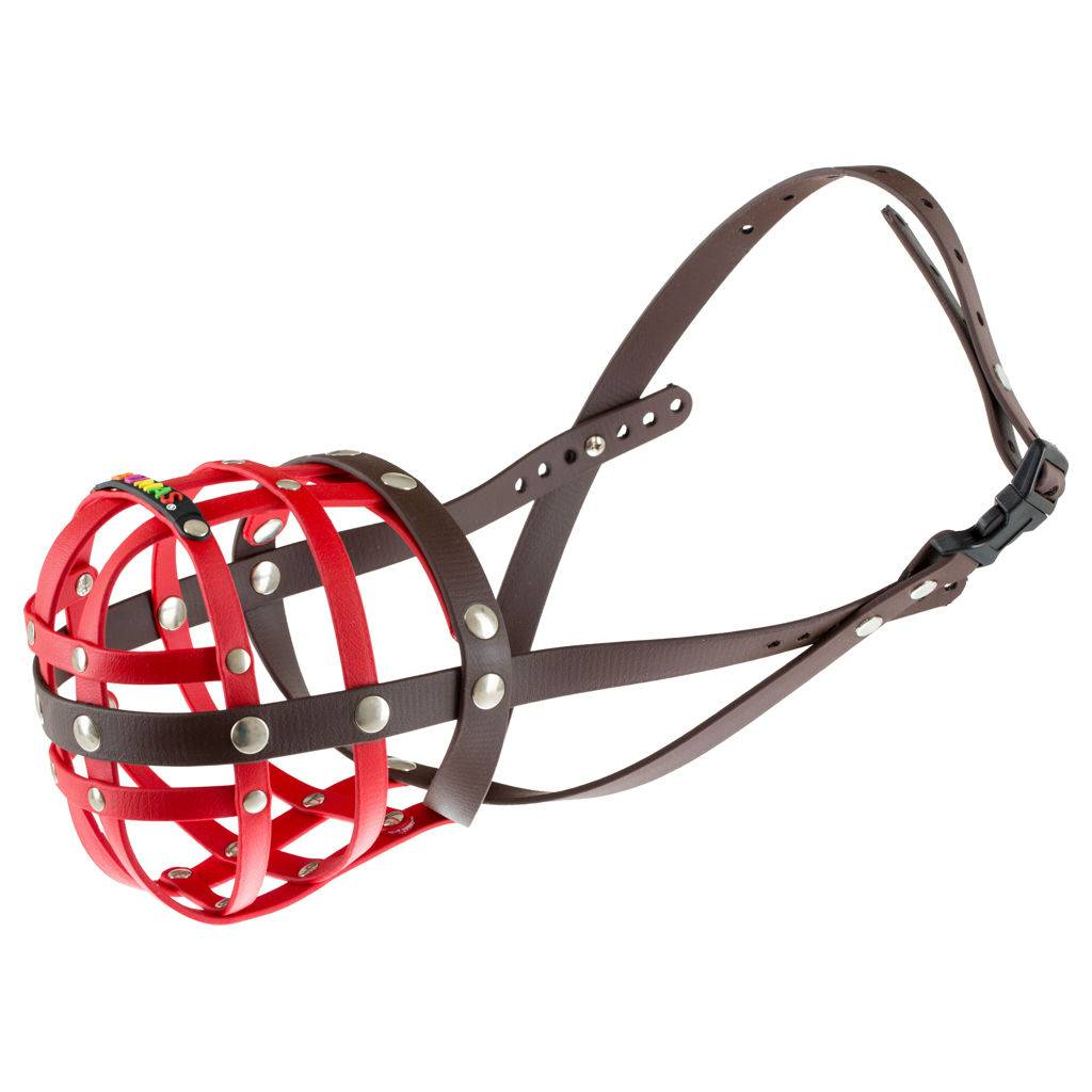 BUMAS - das Original. BUMAS muzzle made of Biothane® Size 10 in red/brown (U 36cm / L 9cm)
