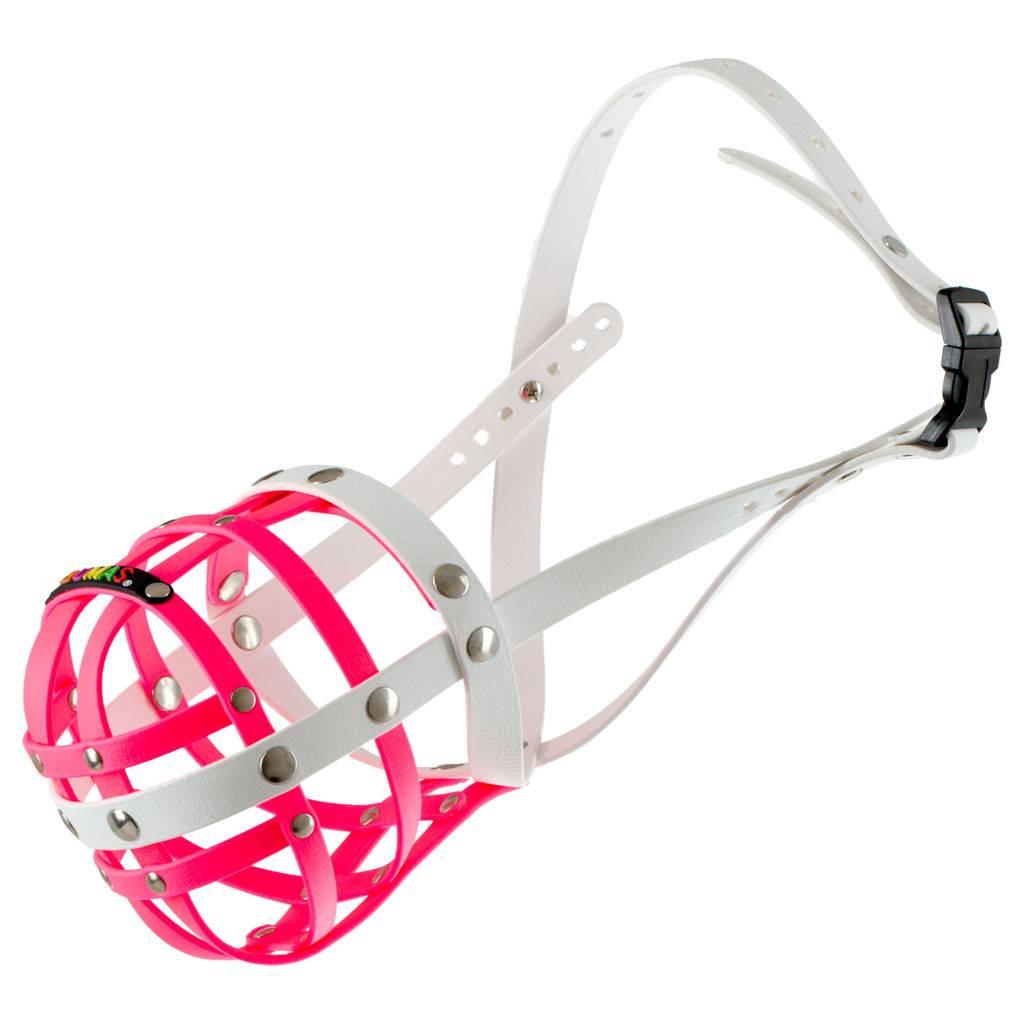 BUMAS - das Original. BUMAS Maulkorb aus Biothane® Gr.11 in pink/weiß (U 40cm / L 12cm)