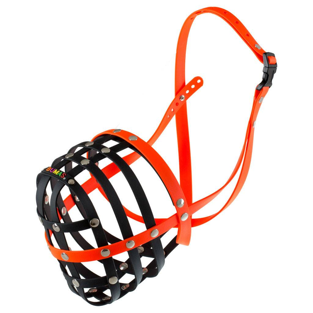 BUMAS - das Original. BUMAS muzzle made of Biothane® Size 12 in black/neon orange (U 50cm / L 13cm)