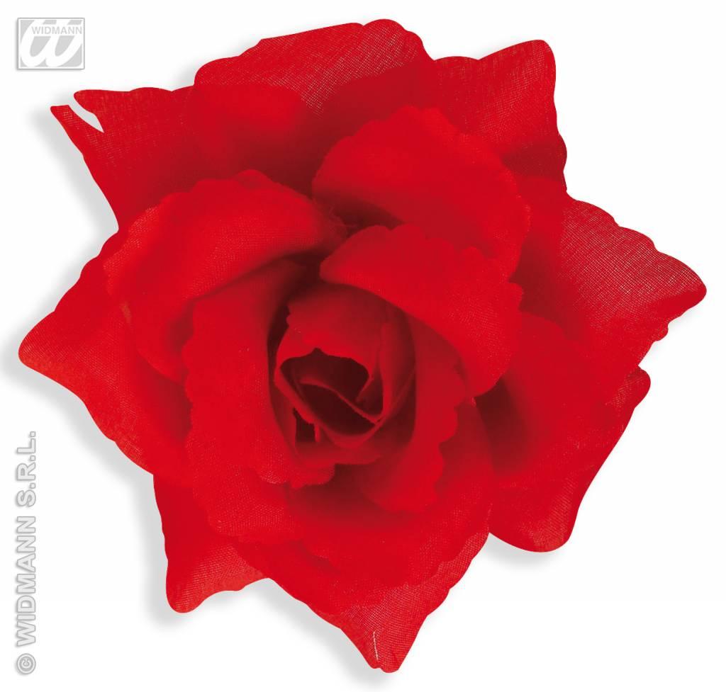 Broche met rode roos