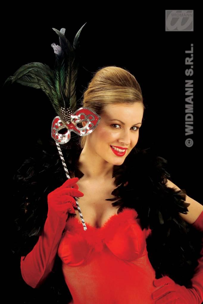 Rode fluwelen handschoen 56cm